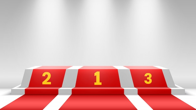 Weißes siegerpodest mit rotem teppich. bühne für die preisverleihung. sockel mit scheinwerfern. illustration.