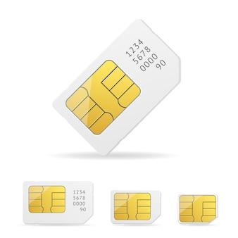 Weißes sim-kartenset mit nummer.