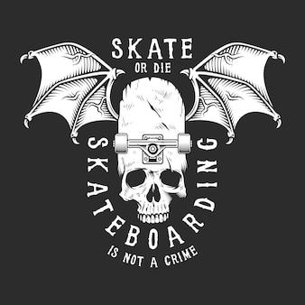 Weißes skateboard-logo der weinlese