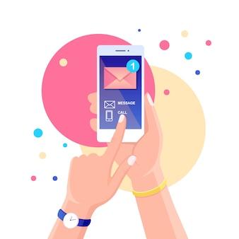 Weißes smartphone mit nachrichtenbenachrichtigung auf dem bildschirm. handy-benachrichtigung über neue e-mail. cartoon design