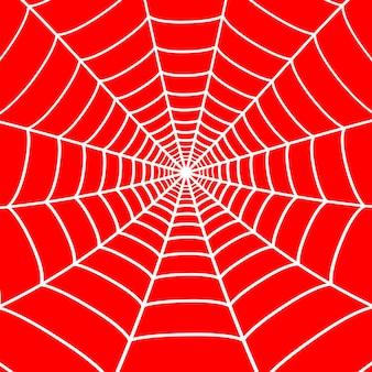 Weißes spinnennetz auf rotem hintergrund. spinnennetz. vektor