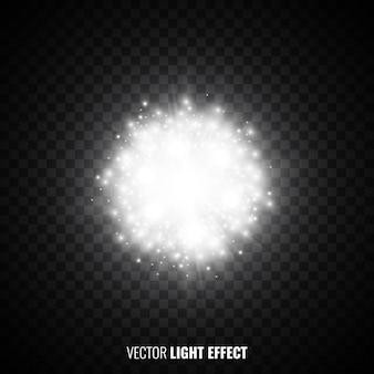 Weißes sternenlicht auf transparentem hintergrund. fackeln, funkelt. explosion. lichteffekt. glühende partikel. glitzernde lichter. illustration.