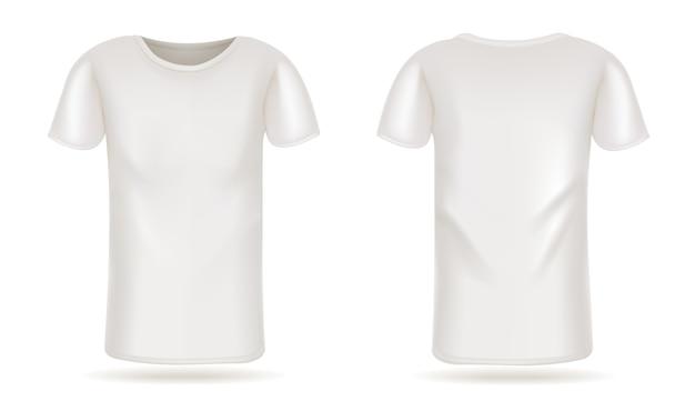 Weißes t-shirt des schablonenvektors vorderes und hinteres ansichtweiß