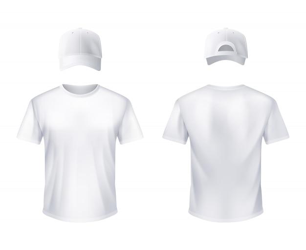 Weißes t-shirt und baseballmütze mann realistisch
