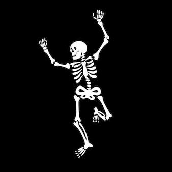 Weißes tanzendes skelett auf schwarzem hintergrund vector illustration design für halloween