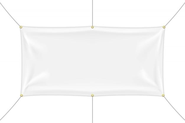 Weißes textilfahnenmodell mit falten