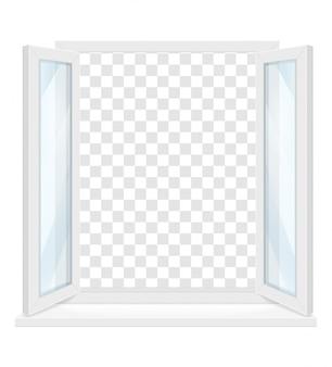 Weißes transparentes kunststofffenster mit fensterbank