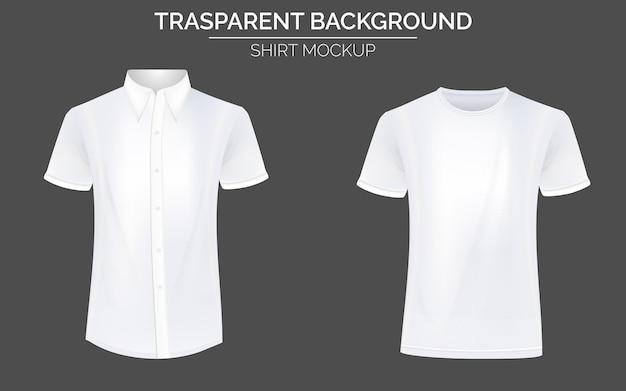 Weißes tshirt und formelles hemd mockup