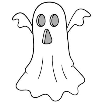 Weißes tuch fliegt erschreckender gruseliger geist, vektorillustrationskunst. doodle symbolbild kawaii.