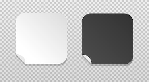 Weißes und schwarzes rechteck mit weicher ecke gefalteter randaufkleber leere papierpreisschildvorlagen