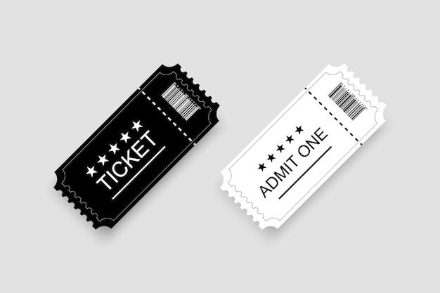 Weißes und schwarzes ticket oder gutschein mit schatten
