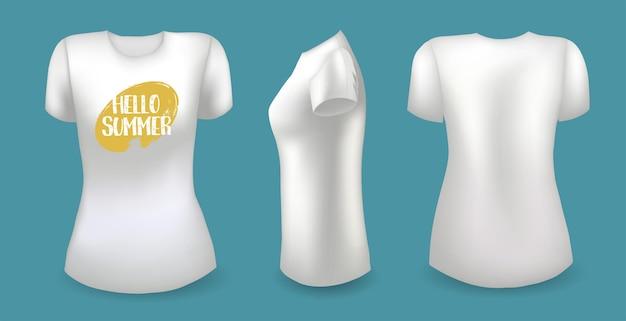 Weißes weibliches t-shirt mit etikett vorne hinten und seitenansicht hallo sommer-abzeichen-vektor
