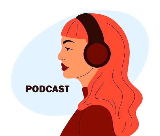 Weißhäutige amerikanerin im profil mit kopfhörer im cartoon-stil podcast