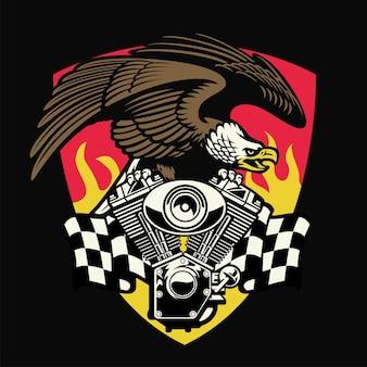 Weißkopfseeadler halten den motorradmotor Premium Vektoren