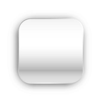 Weißmetallknopfschablone mit realistischem schatten lokalisiert auf weißem hintergrund