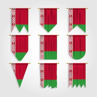 Weißrussische flagge mit verschiedenen formen, flagge von weißrussland in verschiedenen formen