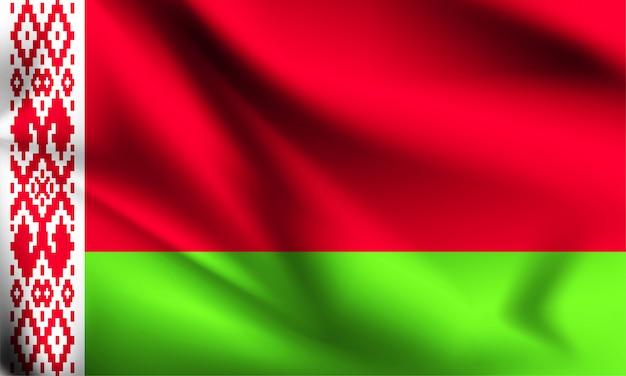 Weißrussische flagge weht im wind. teil einer serie. weißrussland wehende flagge.