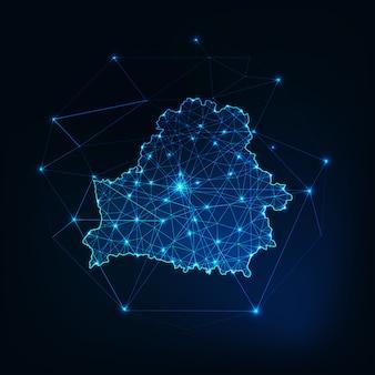 Weißrussland leuchtende netzwerk karte umriss. kommunikation, anschlusskonzept.
