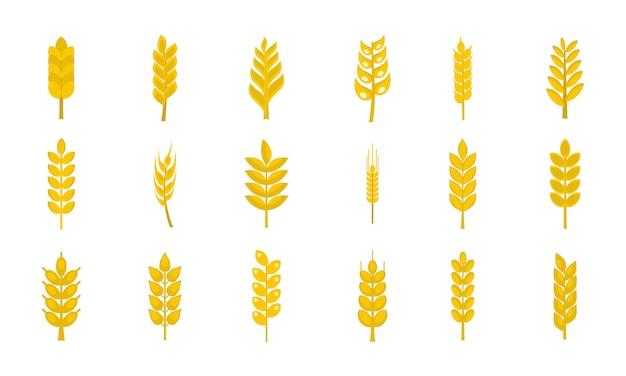 Weizen-icon-set. flacher satz der weizenvektor-ikonensammlung lokalisiert