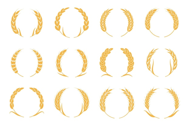Weizen- und roggenkränze. ernte-spike-logo. goldelemente für bio-lebensmittellogo, brotverpackung oder bieretikett. isolierte vektor-silhouette-icons gesetzt