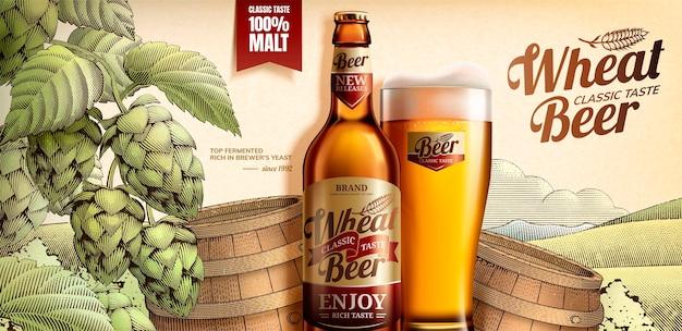Weizenbier-banner mit holzschnittart-fass und hopfenelementen im 3d-stil Premium Vektoren