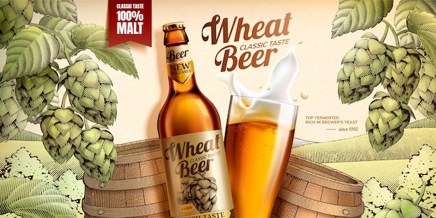 Weizenbier-banner mit holzschnittart-fass und hopfenelementen im 3d-stil