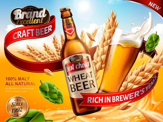Weizenbierwerbung, bierflasche und glas mit spritzendem bier und zutaten in der luft, 3d-darstellung