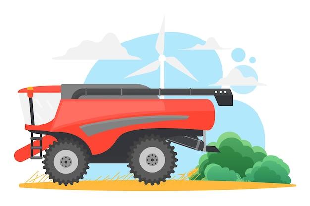 Weizenfarm-harvester kombinieren maschinelle landwirtschaft auf ländlichem gelbem getreidefeld mit windmühle