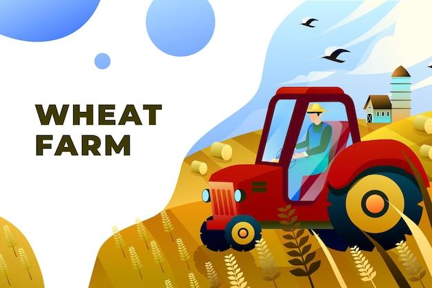 Weizenfarm - vektor-illustration