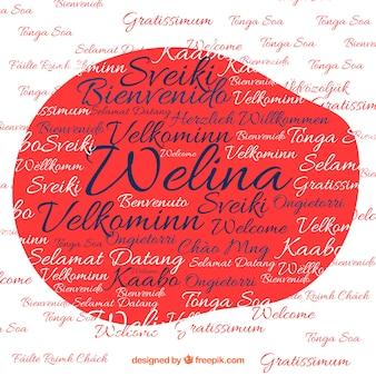 Welcome komposition hintergrund in verschiedenen sprachen