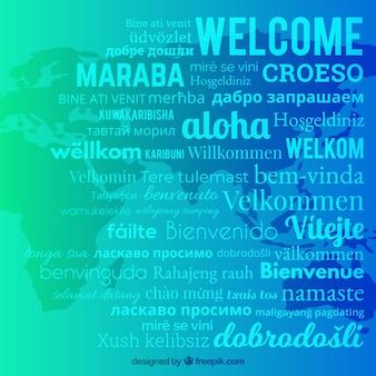 Welcome komposition hintergrund mit verschiedenen sprachen