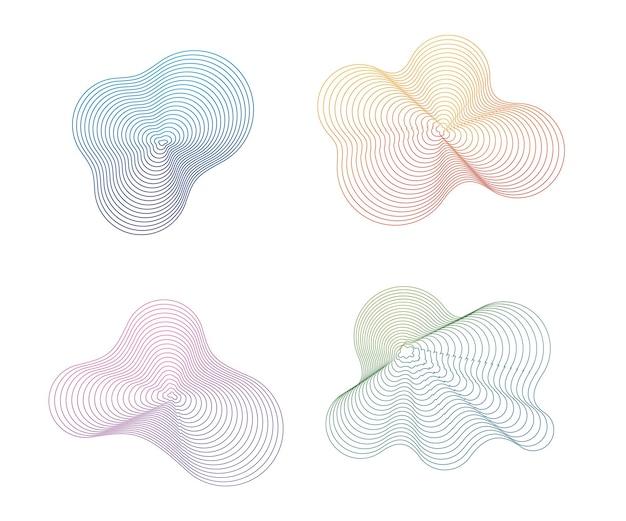 Welle der vielen farbigen linien. abstrakte wellenförmige streifen auf einem weißen hintergrund lokalisiert. kreative strichzeichnungen. vektor-illustration. mit dem mischwerkzeug erstellte designelemente.
