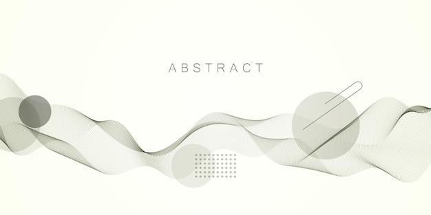 Welle dynamischer partikelströme. schönes wellenarray von gemischten punkten. abstrakter vektorhintergrund.