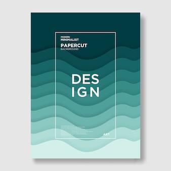 Welle, papier geschnitten, grün, abstrakt und modern hintergrund
