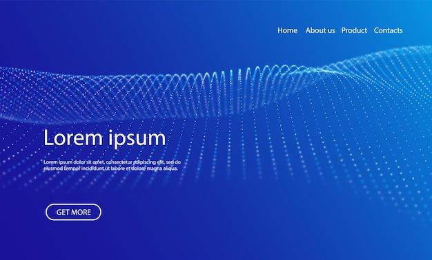 Welle von blauen partikeln abstrakter landingpage-technologiehintergrund