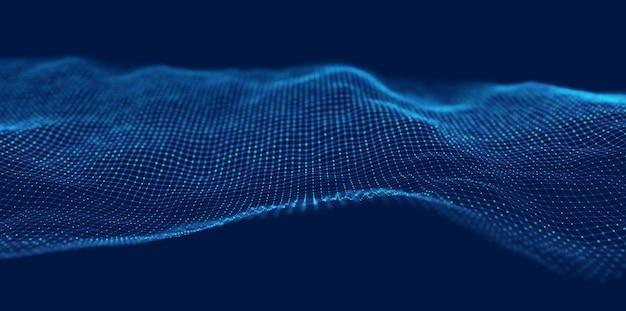 Welle von blauen partikeln abstrakter technologieflusshintergrund soundmaschenmuster oder gitterlandschaft