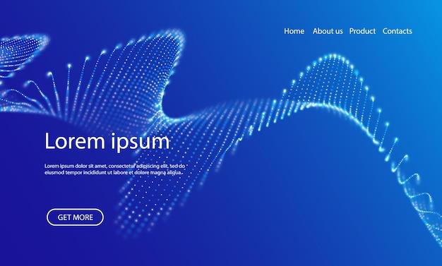 Welle von blauen partikeln futuristische vektorillustration