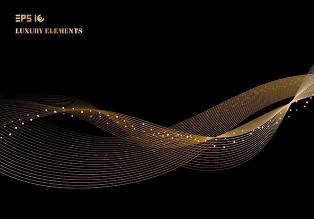 Wellen-gestaltungselement der abstrakten glänzenden farbe funkelndes gold mit funkelneffekt auf luxuskonzept des dunklen hintergrundes