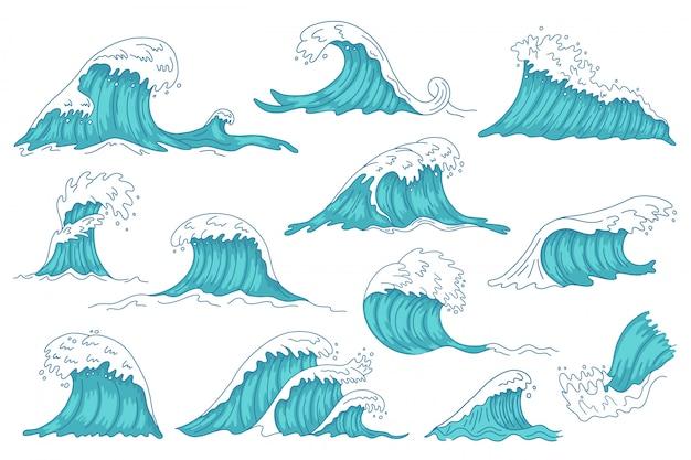 Wellen. gezeichnete wasserwelle der ozeanhand, weinlese-sturm-tsunami-wellen, wütende meerwasserschachtillustrationsikonen gesetzt. wasser ozeansturm, spritzwellensammlung