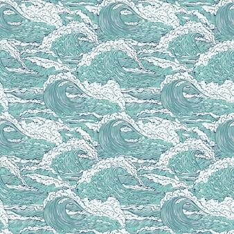 Wellen meer ozean nahtloses muster. große und kleine azurblaue ausbrüche spritzen mit schaum und blasen. umriss skizze illustration hintergrund.