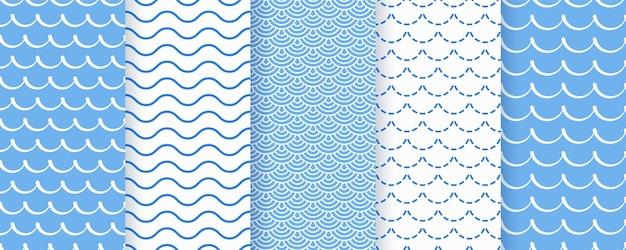 Wellen nahtloses muster. blaue gewellte texturen. geometrische drucke des meeres.