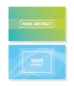 Wellenabstraktion mit beschriftung im weißen hintergrund