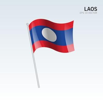 Wellenartig bewegende flagge laos lokalisiert auf grauem hintergrund