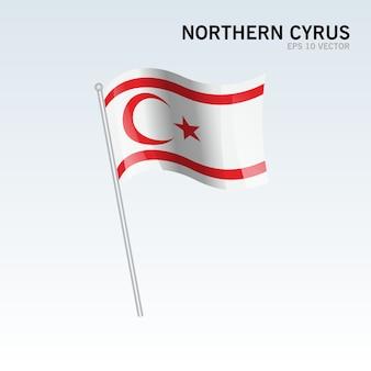Wellenartig bewegende flagge nordzyps lokalisiert auf grauem hintergrund