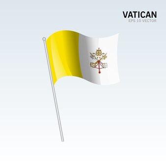 Wellenartig bewegende flagge vatikan lokalisiert auf grauem hintergrund