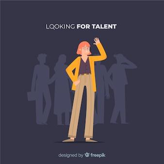 Wellenartig bewegende frau, die talenthintergrund schaut