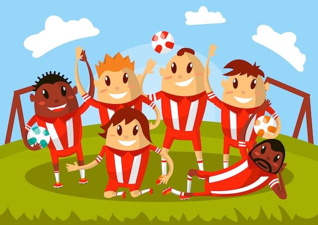 Wellenartig bewegende hände des fußballteams und lächeln für foto.