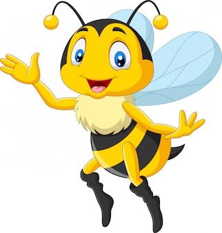 Wellenartig bewegende hand der glücklichen biene der karikatur