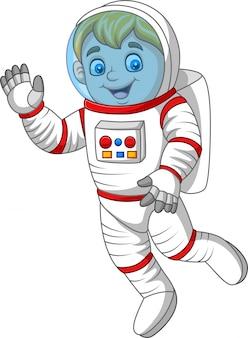 Wellenartig bewegende hand des karikaturastronauten