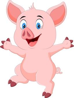 Wellenartig bewegende hand des lustigen schweines der karikatur